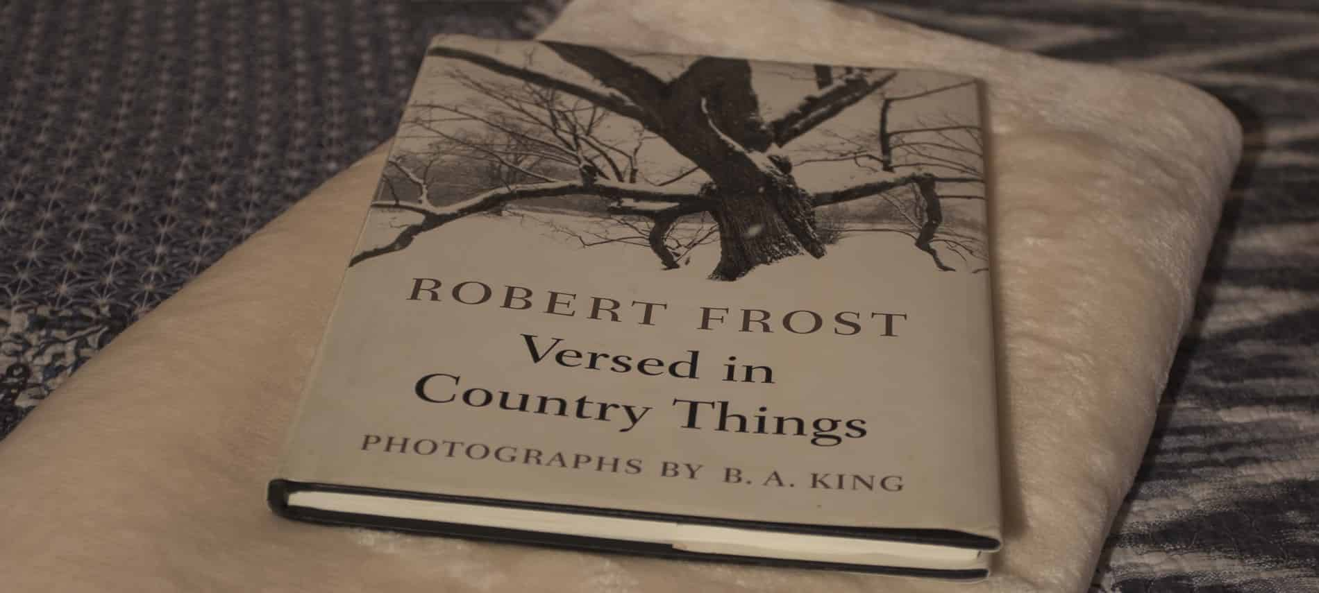 "Close up view of a Robert Frost book, ""Versed in Country Things"""
