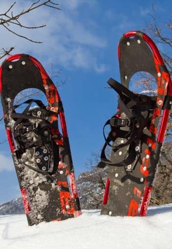 A red and black pair of snow shoes sticking out of the snow covered ground amidst blue skies
